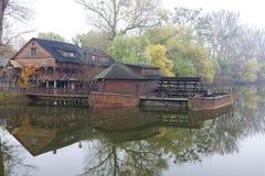 Water mill, Kolarovo. Water mill on boat, Kolarovo, Slovakia Royalty Free Stock Photography