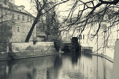 Water mill in Prague retro photo Royalty Free Stock Image
