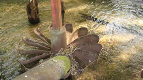 Water mill on the river stock footage