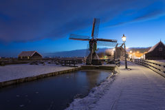 Water mill. Traditional Dutch landscape early in the morning Stock Photo