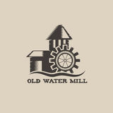 Water mill vintage illustration. Old water mill vintage illustration Stock Photo