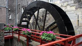 Water mill wheel in Maastricht, Netherlands stock video
