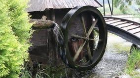 Water mill wheel. Old wooden water mill wheel stock footage