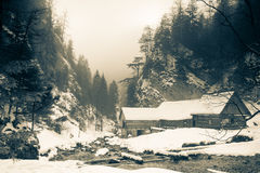Water mill in winter, Slovakia Royalty Free Stock Images