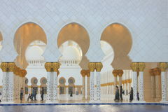 Water mirrors and columns of the Sheikh Zayed Mosque Stock Photos