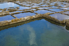 Salt Pans. In Gozo forming water reflections and patterns Royalty Free Stock Image