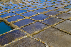 Salt Pans. In Gozo forming water reflections and patterns Stock Photos