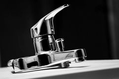 Water mixer, tap, faucet. Water shower mixer in black and white Royalty Free Stock Image