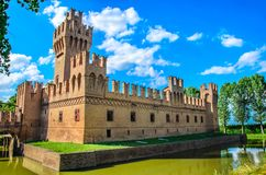 Water moat castle background of Minerbio in Bologna - Emilia Rom stock photography
