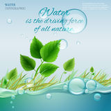 Water molecule. Water is the driving force of all nature. The illustration of bio infographics with water bubbles in transparent style. Ecology and biochemistry Royalty Free Stock Photography