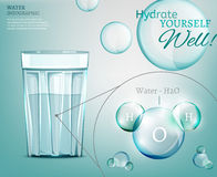Water molecule 03 A. Water is the driving force of all nature. The illustration of bio infographics with water molecule in transparent style. Ecology and Royalty Free Stock Image
