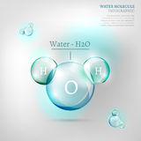 Water molecule. The illustration of bio infographics with water molecule in transparent style. Ecology and biochemistry concept Stock Images