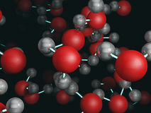 Water molecules 3D rendering Royalty Free Stock Photo