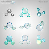 Water molecules set Royalty Free Stock Photography