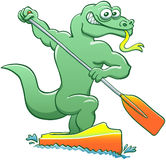 Water monitor competing in a canoe sprint event Stock Images