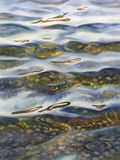 Water mood watercolor. Sea view background. Blue sea or ocean transparent shallow water over pebble bottom of stony beach coast. Wave is incident on the beach Royalty Free Stock Images
