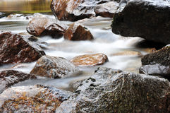 Water Motion, Merced River. Moving water on the Merced River, Yosemite Valley, California Royalty Free Stock Photography