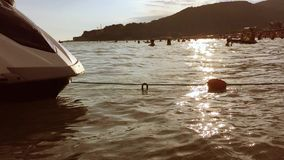 Water motorcycle rocks on the waves sea water sunset slow motion video stock video