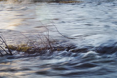 Water of the mountain river shot with long exposure Royalty Free Stock Photography