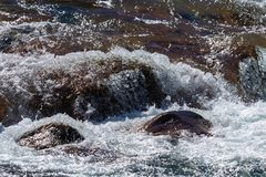 Water mountain river and the wonderful rocky creek. Water Drops after splash stock image