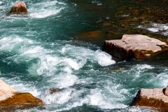 Water mountain river and the wonderful rocky creek stock photography