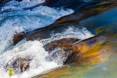 Water mountain river and the wonderful rocky creek. Water Drops after splash. Closeup macro view stock photos