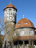 Water mud baths and water tower of Raushen in the spring. Svetlo Stock Image