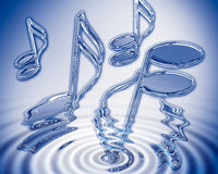Water music. Chrome semi-quavers emerging from water ripple. Blue tint Royalty Free Stock Photo