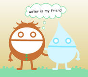 Water is my friend. A cartoon man with his water friend vector illustration