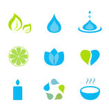 Water, nature and wellness icons - green and blue vector illustration