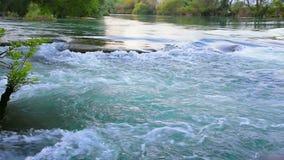 Water near waterfall. stock footage