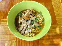 Water noodles with chicken calves and cow soft filling stock image