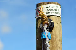 Water not suitable for drinking. Sign on outdoor  water tap. Horizontal. copy space Royalty Free Stock Images