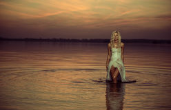 Water nymph walking in the lake Stock Photos