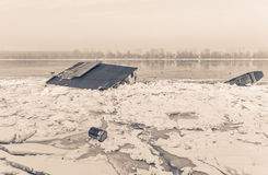 Water objects trapped on frozen Danube, sephia effect Royalty Free Stock Photos