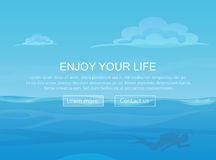 Water ocean sea landscape with sky and clouds and diver silhouette. Website header banner elements layout. Presentation Stock Images