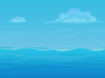Water ocean sea landscape with sky and clouds. Vector game style illustration. Background for games. Stock Image