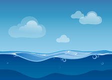 Water ocean seamless landscape with sky and clouds. Water ocean seamless landscape sky and clouds. Cartoon background game design. Nature sea blue wave, vector royalty free illustration