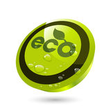 Water On Eco Button Stock Photo