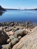 Water onder de brug Royalty-vrije Stock Foto's