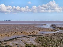 Water outflow onto muddy shore by estuary Royalty Free Stock Photo