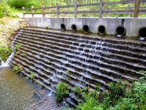 Water outflow from stone holes Stock Photography
