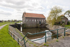 Water outlet and sluice of historical pumping station Stock Photo