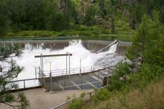 Water over diversion dam Stock Images