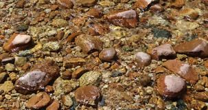 Water over pebbles in stream stock video