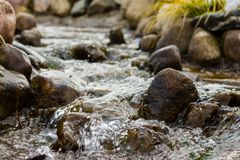 Water over rocks in a stream. Water flowing over rocks in a stream Stock Image