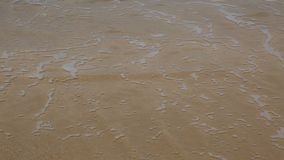 Water over the sand. Abstract footage of a thin layer of water flowing over the sand on a beach stock footage