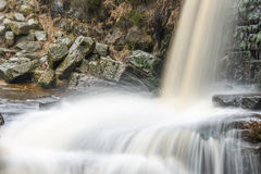 Water overflow chute on a small moorland stream Stock Images