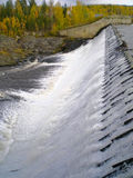 Water overflow on the man-made reservoir storage Royalty Free Stock Image