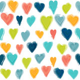 Water painted heart seamless pattern. Stock Photos